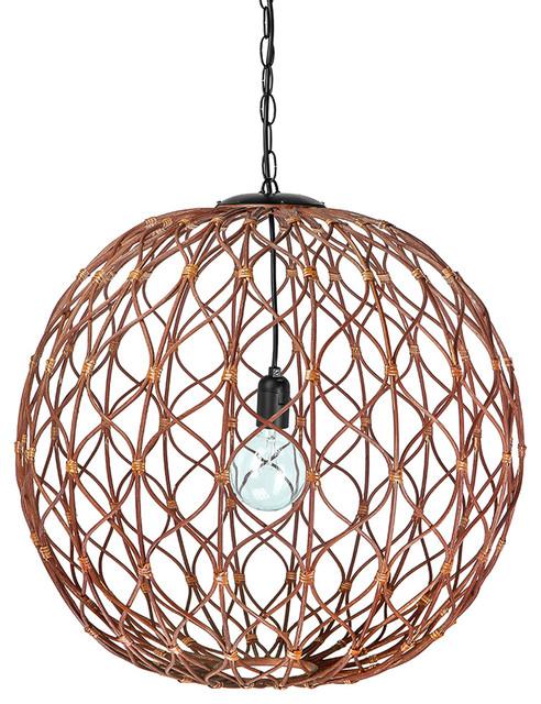 Infinity Wicker Sphere Pendant Lamp, Rustic Brown