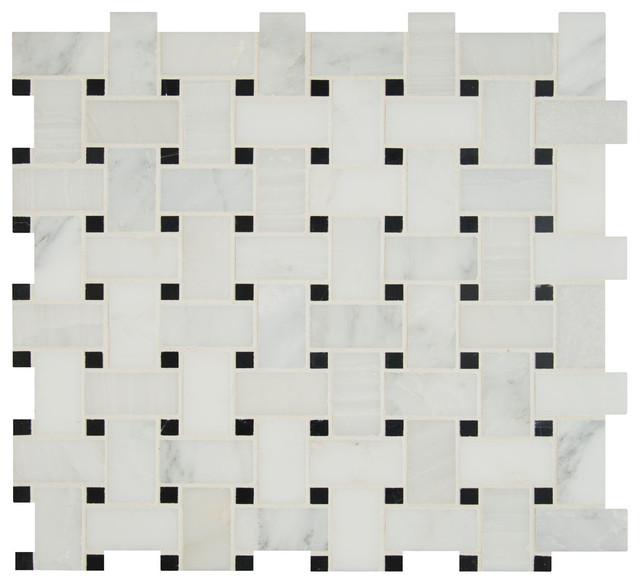 "Basketweave Pattern Honed Tile Arabescato Carrara, 12""x12"", Set of 10"