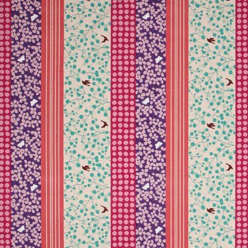echino canvas fabric flowers dots butterfly purple