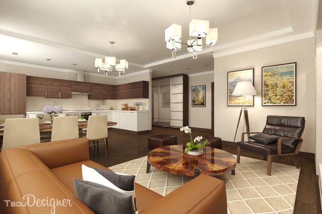 Living Room Kitchen Combo 1-bedroom apartment, combined living, dining and kitchen areas