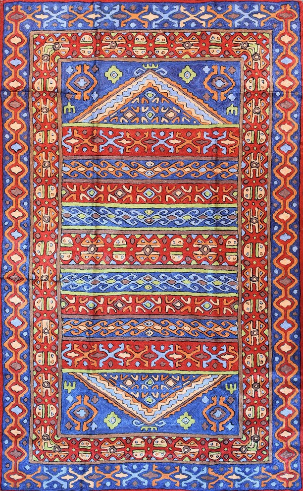 Tribal 3ftx5ft Aztec Blue Red