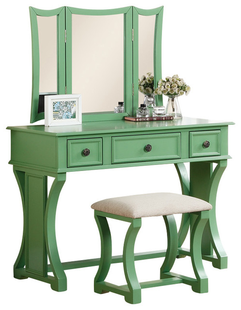 Curved Design 3 Panel Mirror Vanity With Stool Amp Drawer