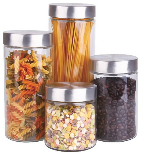 Glass Canister Set With Stainless Steel Lids, Set Of 4 Contemporary Kitchen  Canisters