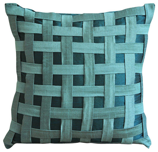 pillow deco collections teal linen aki home solid pillows