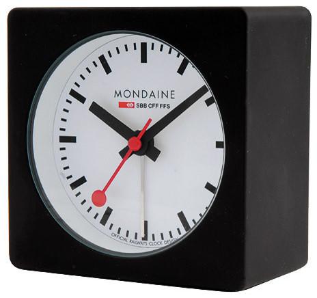 Mondaine square alarm clock black rubber coating and white dial nightglow alarm clocks by - Mondaine travel clock ...