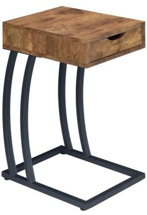 Coaster Accent Table With Power Strip, Antique Nutmeg.