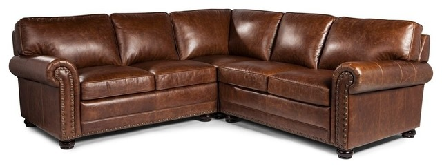 Merveilleux Lazzaro Leather Hardwick Leather Sectional, Brown