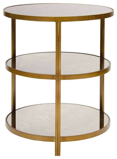 Trilogy Hollywood Regency 3 Tier Bronze Antique Mirror Side Table  Transitional Side Tables