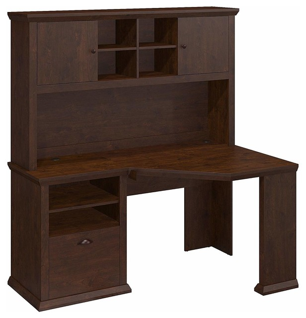 Traditional Corner Desk, Hutch, Composite Wood, Antique Cherry Finish