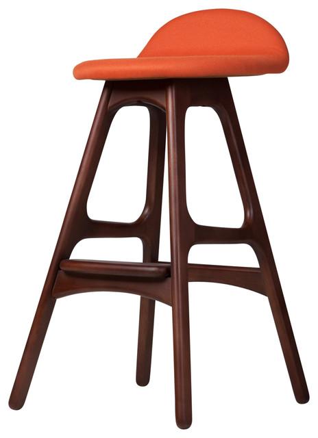 Superb Midcentury Danish Teak Counter Stool Orange Cjindustries Chair Design For Home Cjindustriesco
