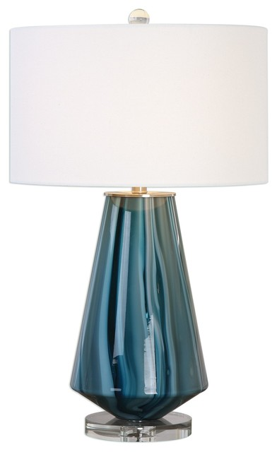 Uttermost Pescara Teal-Gray Glass Lamp.