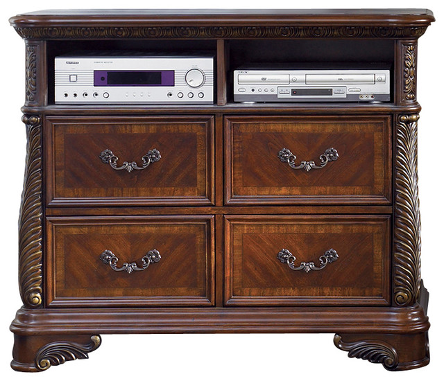 Media Chest with Solid Wood Construction, Rich Cognac Finish - Traditional - Media Cabinets - by ...