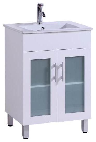 24 Belvedere Modern White Bathroom Vanity W Ceramic Countertop Contemporary Bathroom
