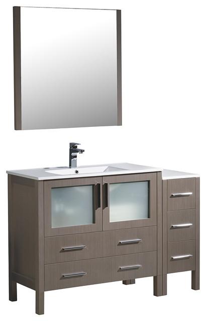 "Fresca Torino 48"" Gray Oak Modern Bathroom Vanity, Side Cabinet, Integrated Sink."