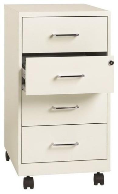 Scranton & Co 4 Drawer Steel File Cabinet in Pearl White