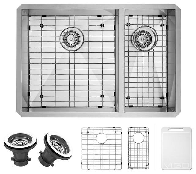 "VIGO 29"" Endicott Stainless Steel Double Bowl Undermount Kitchen Sink, With Sink"