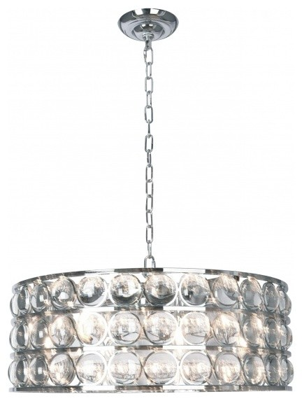 Drum Shade Chandelier With Clear