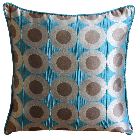 polka dots 14x14 art silk teal blue throw pillows cover teal polka - Blue Decorative Pillows