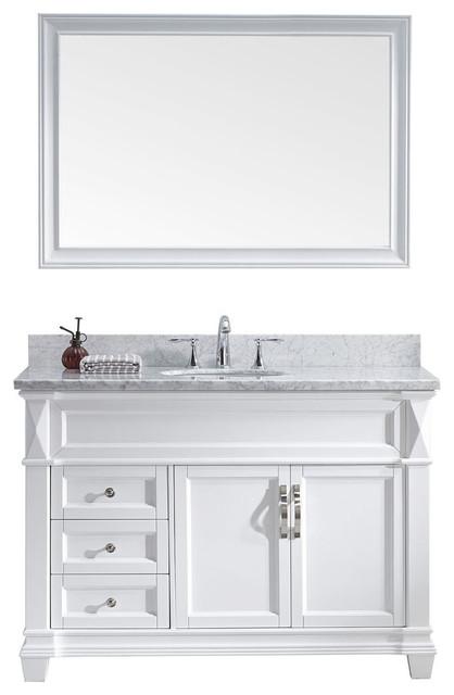 Virtu Usa Victoria 48 Single Square Sink White Top Vanity In White With Mirror.