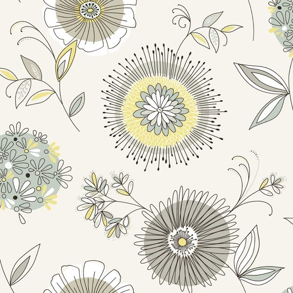 Maisie Green Floral Burst Wallpaper Bolt.