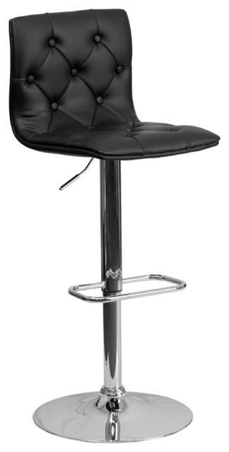 Contemporary Tufted Black Vinyl Adjustable Height Barstool