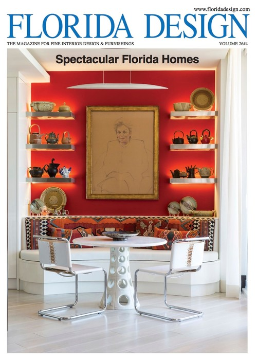 Cover Story Of FLORIDA DESIGN MAGAZINE, #designed #home Of Donna Shalala.  #red #modern #antiques
