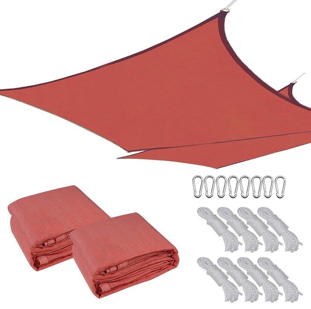 16&x27;x16&x27; Uv Proof Square Sun Shade Sail Cover, Set Of 2, Red.