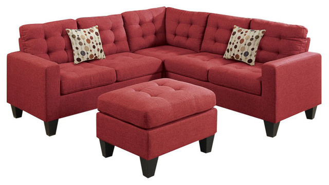 Linen Fabric 4-Piece Sectional With Cocktail Ottoman And Pillows, Carmine Red.
