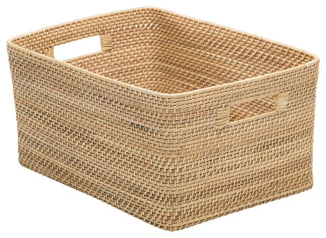 Laguna Rectangular Rattan Storage Basket, Natural Beach Style Baskets
