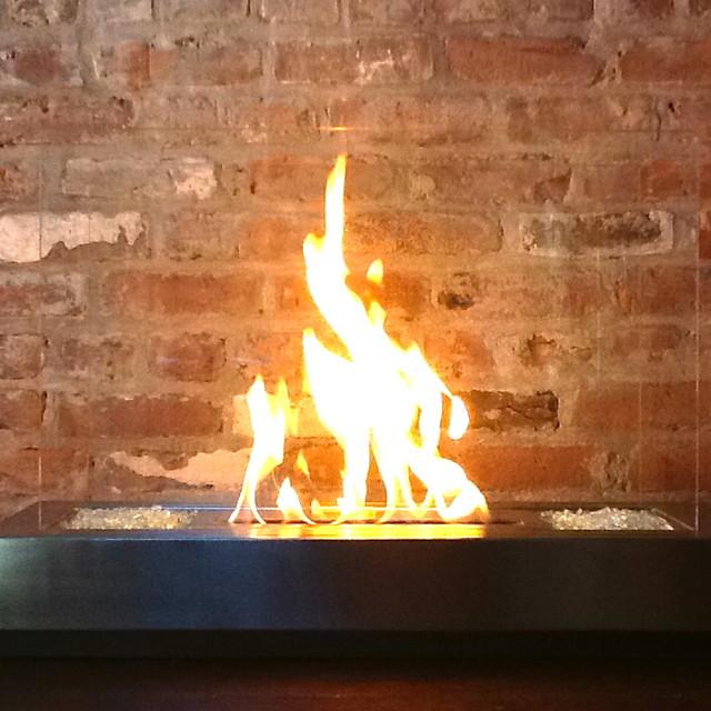 Preston slim ventless stainless steel bio ethanol for Ventless modern fireplace