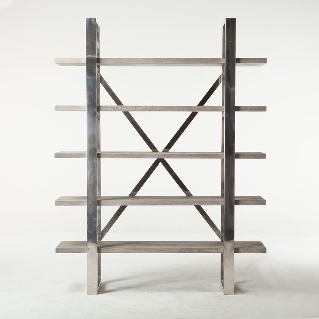 78 T Bookshelf Sustainable Hand Crafted Acacia Wood Stainless Steel Frame