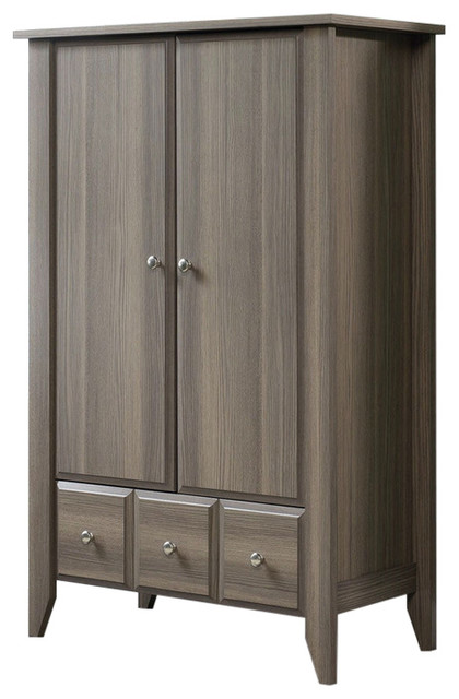 Bedroom wardrobe armoire storage cabinet ash wood finish transitional armoires and for Bedroom armoire with tv storage