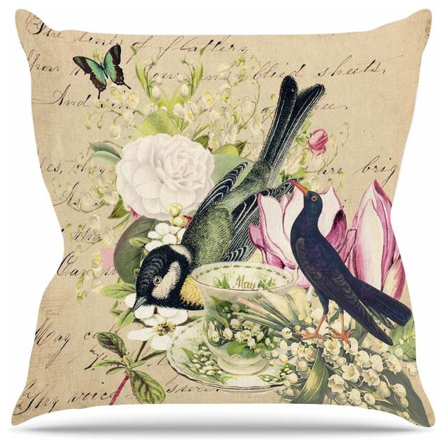 "Suzanne Carter ""vintage Tea"" Bird Illustration Throw Pillow, 26""x26""."