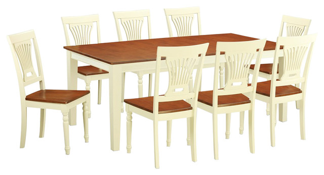 Quincy 9-Piece Solid Wood Dining Set, Buttermilk And Cherry
