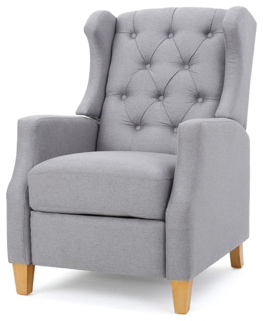 Gondor Extra Plush Cushion Fabric Tufted Wingback Recliner Light Gray Fabric transitional-recliner-  sc 1 st  Houzz & Gondor Extra Plush Cushion Fabric Tufted Wingback Recliner ... islam-shia.org