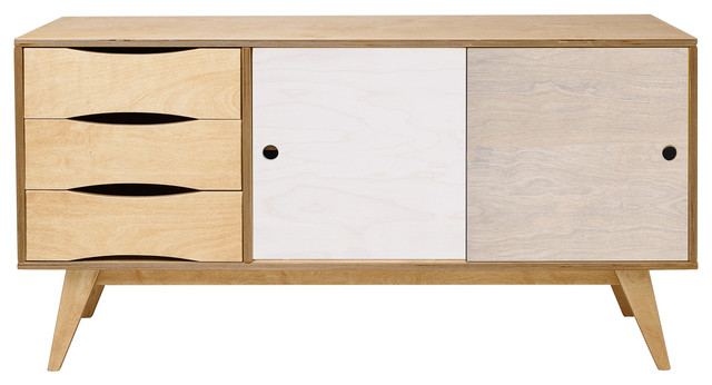 SoSixties Sideboard, Oak, White and Pebble Grey, Large