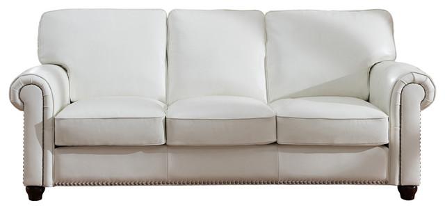 Barbara Leather Craft Sofa, Ivory White