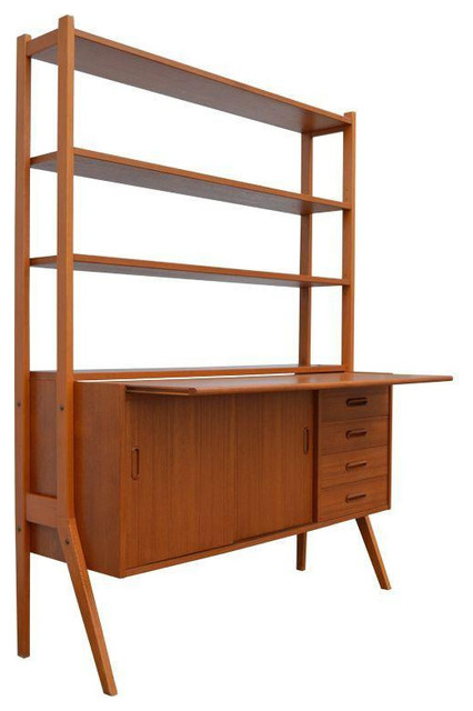 Scandinavian Desks swedish mid-century modern teak desk and hutch
