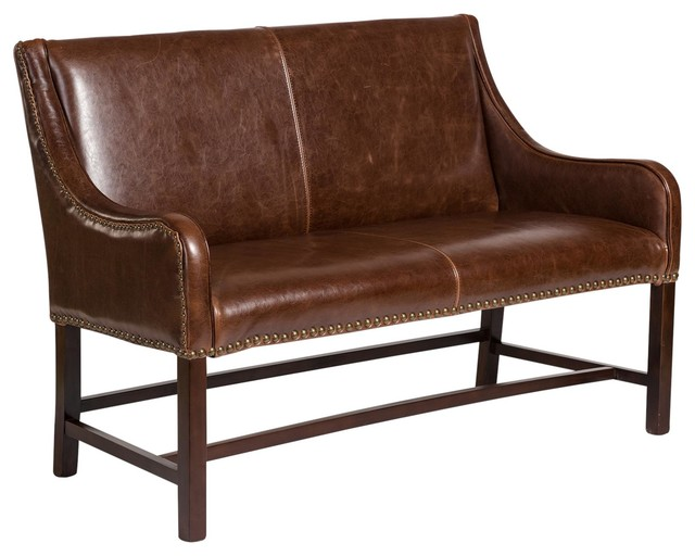 Manchester Antique Saddle Leather Settee - Manchester Antique Saddle Leather Settee - Transitional - Loveseats