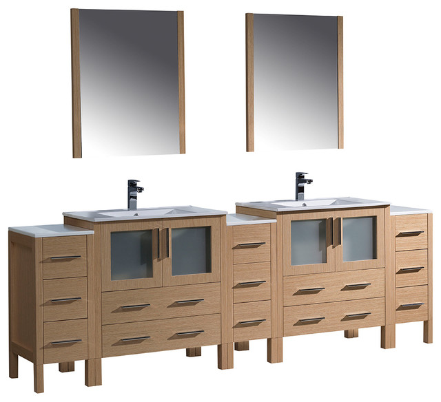 Fresca Torino Double Integrated Sink Vanity, 3 Side Cabinets, Mirrors.