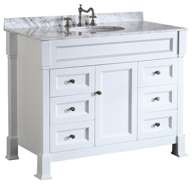 43&x27;&x27; Bosconi Single Vanity Set White, Carrara Marble, Undermount Sink.
