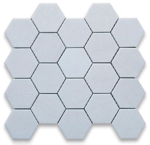 1225x1175 Thassos White Hexagon Mosaic Tile Polished Chip