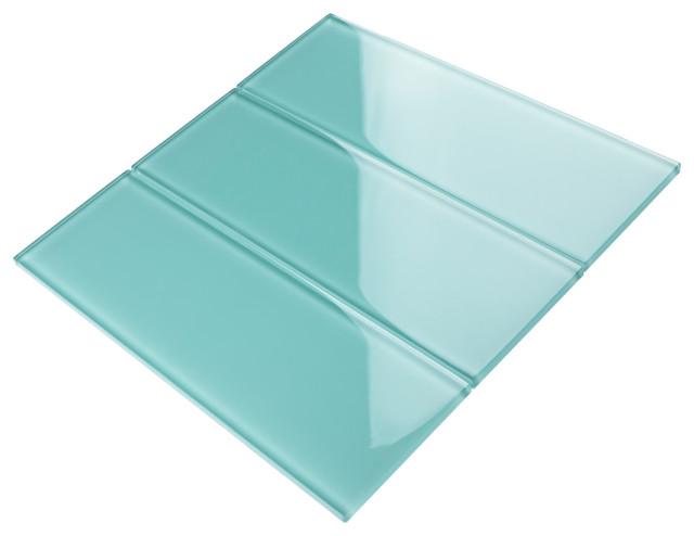 "4""x12"" Baker Glass Subway Tiles, Set of 3, Ocean Green"