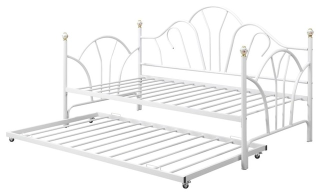 Twin Metal Trundle With 14 Slats, White.