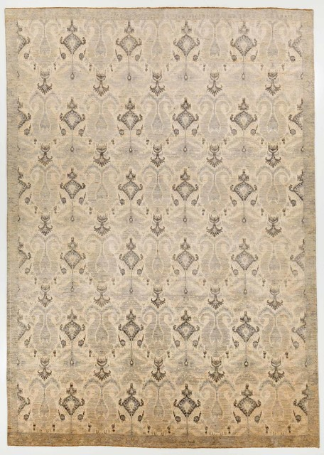 Modern Multi Colored Oriental Ikat Rug With Border 10x14