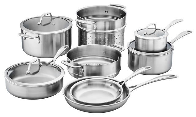 Zwilling Spirit 3-Ply 12-Piece Stainless Steel Cookware Set.
