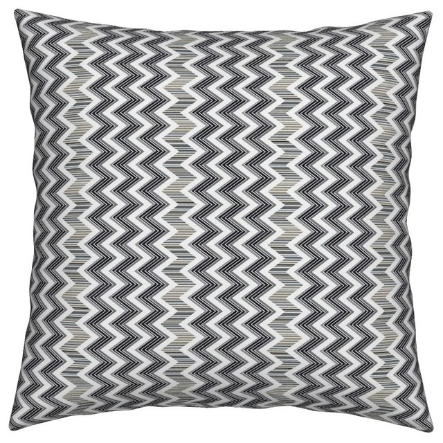 Black And White Chevron Joan Zig Zag Stripes Throw Pillow