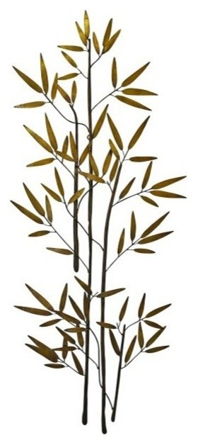 60 Bamboo Branch Gold Metal Wall Art