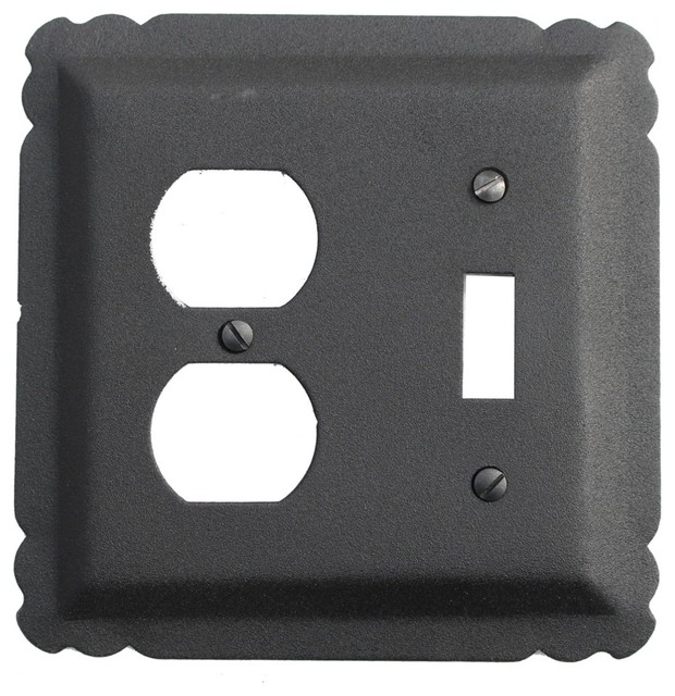 Shop houzz renovator 39 s supply switchplate black wrought iron toggle duplex switch plates and - Wrought iron switch plate covers ...