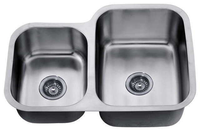 Dawn Undermount Double Bowl Sink, Small Bowl On Left.